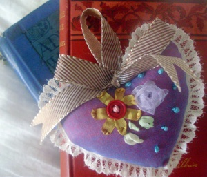 Hand embroidered Heart Sachet